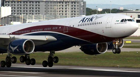 Arik-Air-Plane-Makes a landing in Ghana